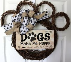 1 in stock.READY TO SHIP! *NEW* Dog Wreath! Show your love for your little 4 legged friend with thi Dog Wreath, Vine Wreath, Dog Crafts, Diy And Crafts, Wreath Crafts, Wreath Ideas, Dog Paws, Deco Mesh Wreaths, Craft Sale