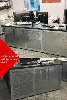 We like the customized perforated metal on this industrial office desk.