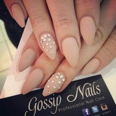Gossip nails. Nude nail color with diamonds