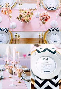 This is nice. I love the ivory and blush tones, the simple floral centerpieces, and the chevron accents.
