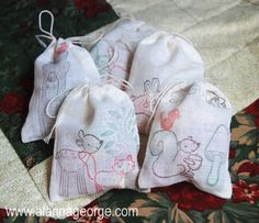 Easy gift making craft for small children! Handmade Holidays | Stamped Spice Bags with Candy - Alanna George | The Craft Nest