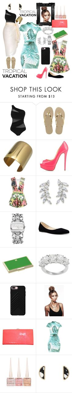 """From the Beach to the Bar"" by alana-rochelle-young-tezeno ❤ liked on Polyvore featuring Havaianas, Carolee, Nine West, Kate Spade, Journee Collection, Rebecca Minkoff, Linda Horn and Christian Louboutin"