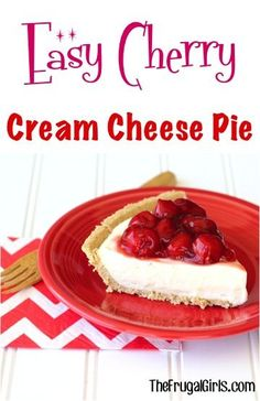 Easy Cherry Cream Cheese Pie Recipe! ~ from TheFrugalGirls.com ~ this delicious no-bake pie is the perfect dessert for any dinner or holiday party! #recipes #pies #thefrugalgirls