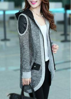 Long Sleeve Color Block Woman Coat