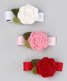 Look at this #zulilyfind! Red & Pink Flower Clip Set #zulilyfinds