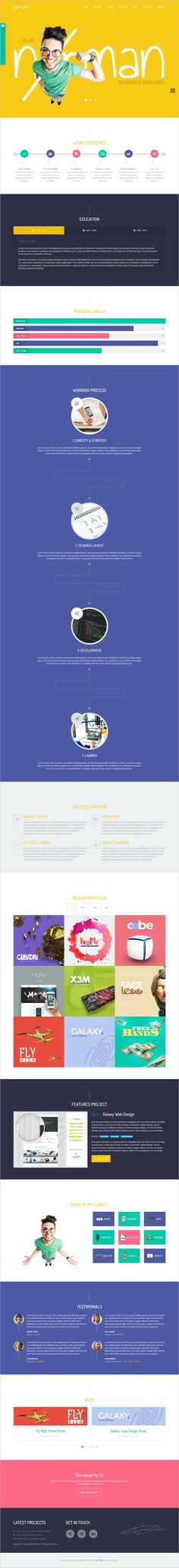 Experience - Multi-Concept CV Resume WordPress Theme Wordpress - resume web template