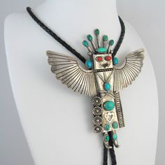Vintage Sterling Silver Turquoise Eagle Dancer Kachina Bolo Tie AHASTEEN