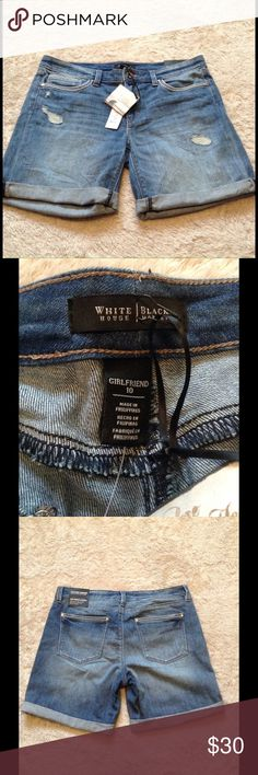 """White House Black Market Girlfriend Shorts 7"""" girlfriend shorts by WHBM from the Saint Honore Jean collection. Described on tag as relaxed through hip and thigh. They are cuffed but not sewn soy out can adjust them to your liking! NWT White House Black Market Shorts Jean Shorts"""