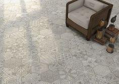 Klinker Hexagon Igneus er en grå, heksagon klinker med blandede etniske mønster fra spanske Vives. Kan bruges til gulv og vægge, indendørs og udendørs.
