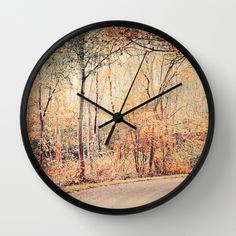 #autumn #fallseason #scenery #photography #nature #golden #wallclock Available in different #homedecor products. Check more at society6.com/julianarw