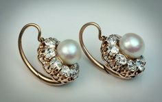 Antique Victorian Pearl And Diamond Cluster Earrings - Antique Jewelry Diamond Studs, Diamond Pendant, Diamond Earrings, Pearl Earrings, Diamond Jewelry, Pearl Diamond, Drop Earrings, Jade Earrings, Ruby Pendant