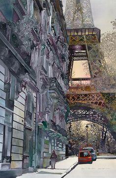 Paris, France - La Tour Eiffel by John Salminen, watercolor Art Watercolor, Watercolor Landscape, Tour Eiffel, Maurice Utrillo, Watercolor Architecture, Illustration Art, Illustrations, Belle Villa, Paris Art