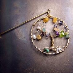 Family Tree Birthstone Brooch Pin - Gold - Personalized - Lapel Pin- Gemstone Birthstones by Amanda Toddings