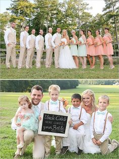 Mint and peach wedding bridal party outfit ideas mint Peach Wedding Colors, Tan Wedding, Wedding Mint Green, Summer Wedding, Dream Wedding, Wedding Parties, Wedding Stage, Beige Suits Wedding, Wedding Beach