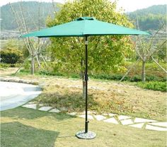 Best Outdoor Aluminum Umbrella Patio Yard Garden With 45 degree Tilt Deep Green #1