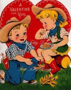 Valentines Cowboy and Cowgirl Vintage Digital by poshtottydesignz