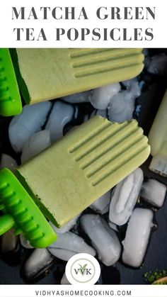 """5-ingredient creamy vegan matcha popsicles with coconut cream! These gluten and sugar-free """"blend and freeze"""" popsicles are a perfect summer treat."""