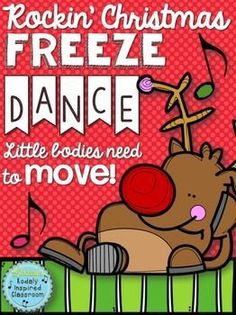 "Rockin' Christmas Freeze Dance - Brain break and movement exploration. Play your favorite holiday music and when you press ""pause"" students get to freeze to make their bodies match the picture! Such a fun way to get some wiggles out during those extra minutes here and there, indoor recess, music, PE, and holiday parties! #brainbreaks #musedchat"