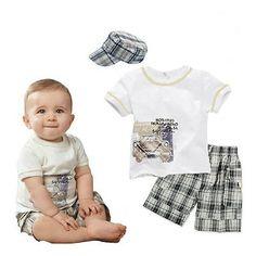 3pcs-Kid-Toddler-Baby-Boy-T-shirt-Hat-Top-Pants-Shorts-Outfit-Clothes-Set-Plaid
