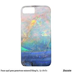 Hipster, trendy faux iridescent opal photo gem crystal quartz gemstone mineral geode science specimen photograph - geeky, stylish, cool, simple, faux blingy hipster bokeh like photo iPhone 7 case.