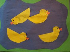 "D is for duck! Duck pond craft. I would make it with 5 ducks per pond and sing the song ""Five little ducks"". Use velcro and have the ducks swim away (according to the lyrics in the song)."