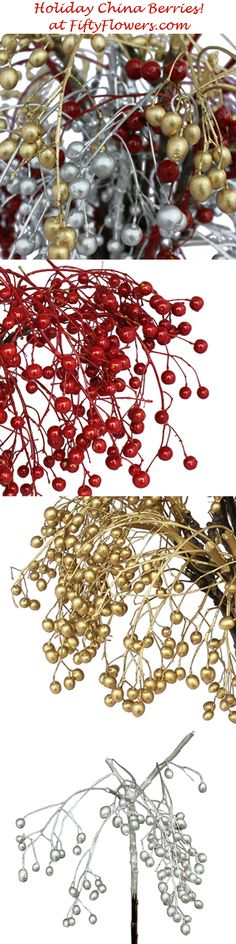 Holiday China Berries are now available at FiftyFlowers.com - Choose from Red, Gold, Silver, or a combination of all three!