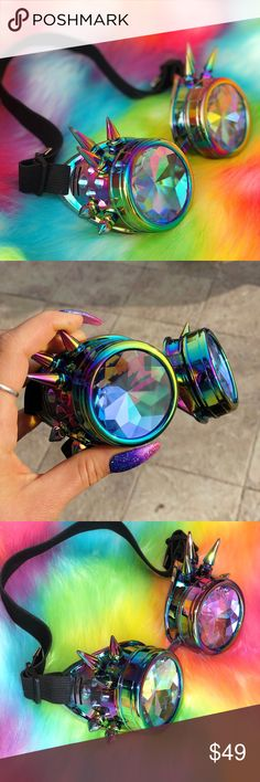 rainbow oil spill kaleidoscope goggles NEW rainbow oil spill kaleidoscope goggles NEW/ unworn tags: glasses steampunk burning man trippy refraction crystal eyewear future eyes holes h0les rave festival fashion colorful rainbow trip out dollskill acc