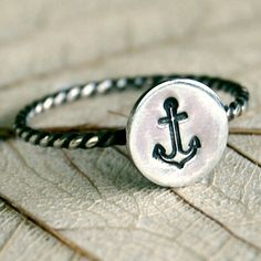 for the delta gamma girl in your life Anchor Rings, Anchor Jewelry, Silver Stacking Rings, Silver Rings, Delta Gamma, Jewelry Box, Jewelery, Cute Rings, Couture