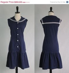 Vintage Sailor Dress Womens Nautical Dress by SassySisterVintage