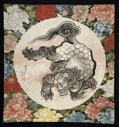 Gift cover (fukusa) / The Lion and Peony / Hokusai 唐獅子牡丹袱紗 葛飾北斎 1844年 画狂老人卍筆 齢八十五歳