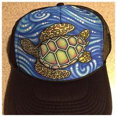 Sea turtle waves hand painted trucker hat by JulesJewelsJewelry