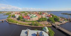 Vyborg (former Viipuri) Leningrad Oblast Russia. Views from the Olaf Tower of the Vyborg Castle. [4400x2300]
