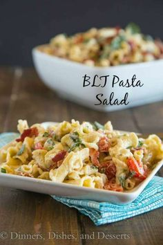 BLT Pasta Salad – Turn the classic BLT sandwich in a pasta salad with a creamy dressing.  Great for lunch, dinner, parties, potlucks, or just about anytime.