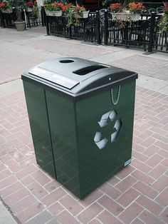 Recycle bins on the streets of downtown Calgary.