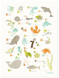 "Sea & Shore alphabet poster - A perfect addition to an ocean-themed nursery or playroom, our alphabet poster features adorable critters from sea and shore. This print coordinates nicely with our ""Just Numbers"" and Mermaid posters.      12""x16""  Please choose unisex or pink  Printed in the USA on 110 lb. uncoated cotton paper  Carefully packaged in cello sleeve with board backing"