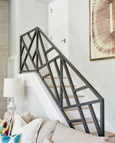 44 Awesome Modern Stairs Railing DesignYou can find Modern staircase and more on our Awesome Modern Stairs Railing Design Staircase Railing Design, Interior Stair Railing, Modern Stair Railing, Home Stairs Design, Stair Handrail, House Design, Staircase Design Modern, Railing Ideas, Curved Staircase