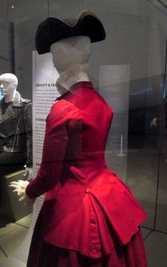 """1770-1780 British Riding Habit (detail) at the Royal Ontario Museum, Toronto - From the curators' comments: """"Upper-class women enjoyed the new comfortable tailored habits and, much to masculine outrage, even adapted the habit as urban visiting dress because it was so comfortable."""""""