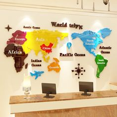 Office Wall Design, Office Wall Decals, Feature Wall Design, Corporate Office Design, Office Branding, Office Furniture Design, Office Interior Design, Map Wall Decor, Wall Maps