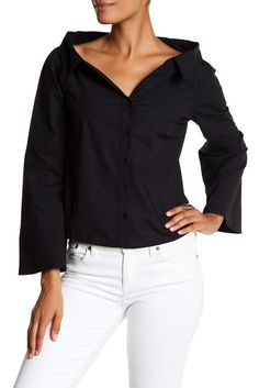 Image of W118 by Walter Baker Jackson Off-the-Shoulder Long Sleeve Shirt