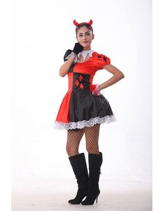 Product Code: THC0230153 Package included: headwear,neck ring,dress,gloves Gender: Female Age Group: Adult Color:Red Pattern: Harley Quinn costume Material: Polyester 2016 the latest Halloween costume