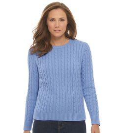 Double L Cotton Sweater, Long-Sleeve Cable Crewneck