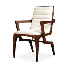 """By COUP STUDIO San Francisco, CA  European walnut frame with cast brass sabots and stretchers / Channeled tufting upholstery standard  Lead Time: 10-12 weeks 23""""W x 24.75""""D x 36.5""""H Seat Height 18.5"""", Arm Height 25.5"""", Seat Depth 17.5"""" COM 2 Yards / COL 36 Sq.Ft.  UP-CS-50-ARM"""