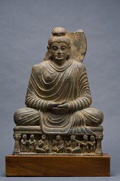 "Buddha Gandhara, Kushan Period Grey schist Ht. 19"" (48.2 cm)"