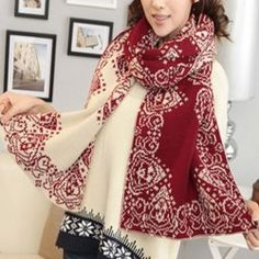Chic Mixed Print Design Color Block Scarf For Women
