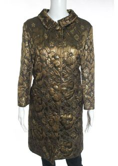 NWT MIU MIU Brown Gold Metallic Cotton Brocade Floral Long Coat Sz 42 $1065 #MiuMiu #BasicCoat
