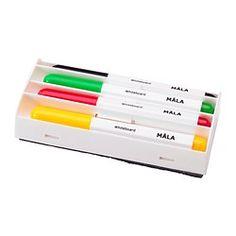 IKEA - MÅLA, Whiteboardpenna,  , , 4 pennor och 1 suddgummi tillsammans i en praktiskt låda.Whiteboardpennor med barnvänligt grepp.