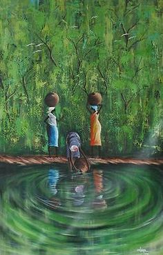 At the Stream Original Painting Africa Expressive Art Signed & Unframed Novica