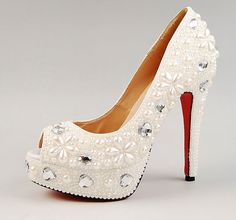 97.00$  Buy now - http://alin53.shopchina.info/1/go.php?t=2037713267 - Gorgeous White Peep Toe with pearl Wedding Party Shoes Bridal Dress Shoes Wedding Outfit Crystal Party Prom Shoes  #shopstyle
