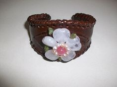 Leather Cuff Heart Bracelet W/Heart Flower by HeartsMaddness, $14.00