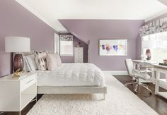 Purple and grey room airy purple and grey bedroom purple and grey baby nursery Mauve Bedroom, Grey Bedroom Colors, Purple Bedroom Design, Grey Bedroom Decor, Purple Bedrooms, Grey Room, Room Ideas Bedroom, Teen Bedroom, New York Bedroom